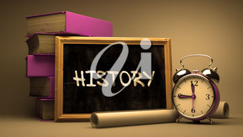 History Concept Hand Drawn on Chalkboard. Blurred Background. Toned Image. 3D Render.