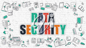 Multicolor Concept - Data Security - on White Brick Wall with Doodle Icons Around. Modern Illustration with Doodle Design Style.