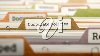 Folder in Colored Catalog Marked as Corporate Policies Closeup View. Selective Focus. 3D Render.