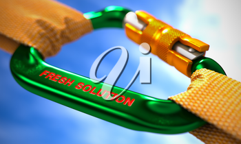 Green Carabiner between Orange Ropes on Sky Background, Symbolizing the Fresh Solution. Selective Focus. 3D Render.