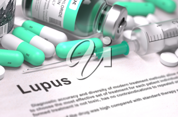 Lupus - Printed Diagnosis with Mint Green Pills, Injections and Syringe. Medical Concept with Selective Focus. 3D Render.