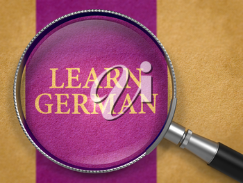 Learn German through Lens on Old Paper with Dark Lilac Vertical Line Background. 3D Render.