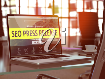SEO - Search Engine Optimization - Press Release Concept. Closeup Landing Page on Laptop Screen  on background of Comfortable Working Place in Modern Office. Blurred, Toned Image. 3D Render.