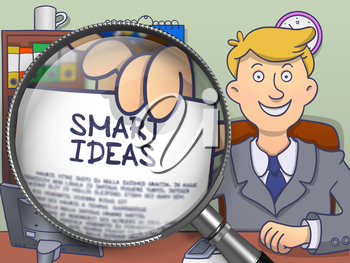 Officeman in Suit Holds Out a Paper with Inscription Smart Ideas Concept through Magnifier. Closeup. Colored Doodle Illustration.