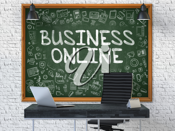 Business Online - Hand Drawn on Green Chalkboard in Modern Office Workplace. Illustration with Doodle Design Elements. 3D.