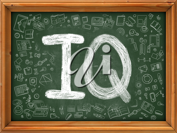IQ - Intelligence Quotient - Concept. Line Style Illustration. IQ - Intelligence Quotient -Handwritten on Green Chalkboard with Doodle Icons Around. Doodle Design Style of  IQ- Intelligence Quotient.