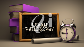 Hand Drawn Learn Philosophy Concept  on Chalkboard. Blurred Background. Toned Image. 3D Render.