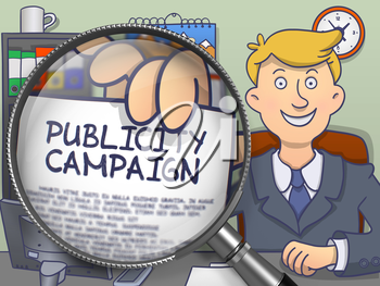 Officeman in Office Showing Paper with Text Publicity Campaign. Closeup View through Magnifier. Multicolor Doodle Style Illustration.