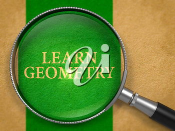Learn Geometry through Loupe on Old Paper with Green Vertical Line Background. 3D Render.