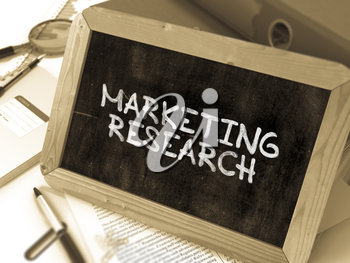 Hand Drawn Marketing Research Concept  on Chalkboard. Blurred Background. Toned Image. 3D Render.