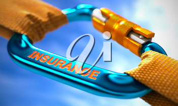 Strong Connection between Blue Carabiner and Two Orange Ropes Symbolizing the Insurance. Selective Focus. 3D Render.