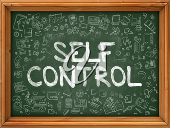 Self Control Concept. Modern Line Style Illustration. Self Control Handwritten on Green Chalkboard with Doodle Icons Around. Doodle Design Style of Self Control Concept.