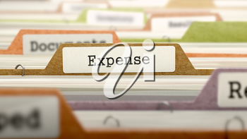 Folder in Catalog Marked as Expense Closeup View. Selective Focus. 3D Render.