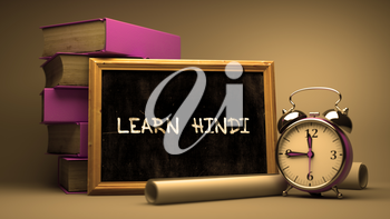 Hand Drawn Learn Hindi Concept  on Chalkboard. Blurred Background. Toned Image. 3D Render.