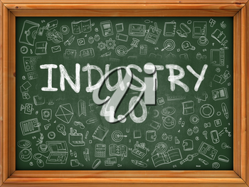 Industry 4.0 - Hand Drawn on Green Chalkboard with Doodle Icons Around. Modern Illustration with Doodle Design Style.