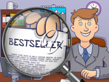 Bestseller. Concept on Paper in Business Man's Hand through Magnifying Glass. Multicolor Doodle Illustration.