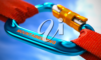 Red Ropes Connected by Blue Carabiner Hook with Text Mountaineering. Selective Focus. 3D Render.
