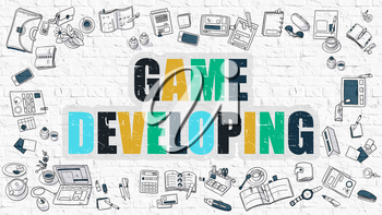 Game Developing - Multicolor Concept with Doodle Icons Around on White Brick Wall Background. Modern Illustration with Elements of Doodle Design Style.