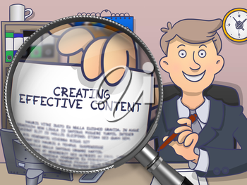 Creating Effective Content through Magnifying Glass. Man Holding a Paper with Inscription. Closeup View. Multicolor Modern Line Illustration in Doodle Style.
