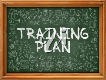 Training Plan - Hand Drawn on Green Chalkboard with Doodle Icons Around. Modern Illustration with Doodle Design Style.