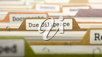 Due Diligence Concept. Colored Document Folders Sorted for Catalog. Closeup View. Selective Focus. 3D Render.