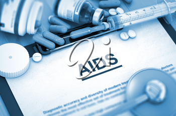 Diagnosis - AIDS On Background of Medicaments Composition - Pills, Injections and Syringe. AIDS - Printed Diagnosis with Blurred Text. AIDS, Medical Concept with Selective Focus. 3D.