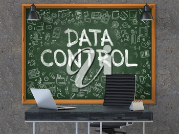 Hand Drawn Data Control on Green Chalkboard. Modern Office Interior. Dark Old Concrete Wall Background. Business Concept with Doodle Style Elements. 3D.