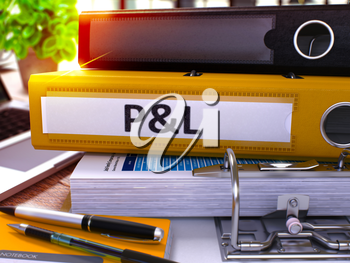 Yellow Ring Binder with Inscription Profit and Loss on Blurred Background of Working Table with Office Supplies and Laptop. Profit and Loss - Toned Illustration. Business Concept. 3D Render.