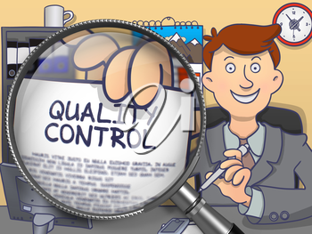 Quality Control through Lens. Man Holds Out a Paper with Concept. Closeup View. Multicolor Doodle Illustration.