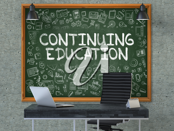 Hand Drawn Continuing Education on Green Chalkboard. Modern Office Interior . Gray Concrete Wall Background. Business Concept with Doodle Style Elements. 3d.