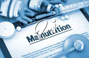Malnutrition - Medical Report with Composition of Medicaments - Pills, Injections and Syringe. Malnutrition - Printed Diagnosis with Blurred Text. 3D.