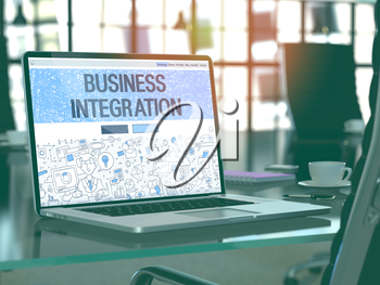 Business Integration Concept Closeup on Landing Page of Laptop Screen in Modern Office Workplace. Toned Image with Selective Focus. 3D Render.