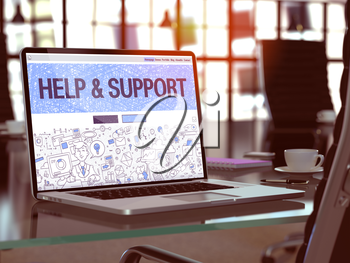Help and Support Concept - Closeup on Landing Page of Laptop Screen in Modern Office Workplace. Toned Image with Selective Focus. 3D Render.