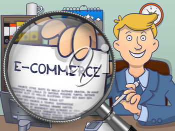 E-Commerce on Paper in Businessman's Hand to Illustrate a Business Concept. Closeup View through Magnifier. Colored Doodle Style Illustration.