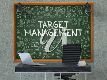 Target Management - Hand Drawn on Green Chalkboard in Modern Office Workplace. Illustration with Doodle Design Elements. 3D.