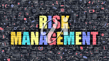 Risk Management Concept. Risk Management Drawn on Dark Wall. Risk Management in Multicolor. Risk Management Concept. Modern Illustration in Doodle Design of Risk Management.