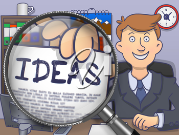 Ideas. Officeman Sitting in Workplace and Showing  Paper with Inscription through Magnifier. Multicolor Doodle Illustration.
