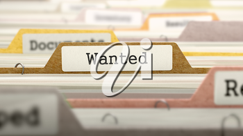 Wanted Concept on Folder Register in Multicolor Card Index. Closeup View. Selective Focus. 3D Render.