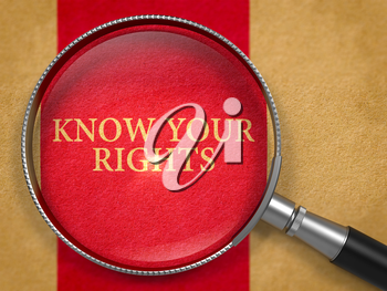 Know Your Rights through Loupe on Old Paper with Dark Red Vertical Line Background. 3D Render.