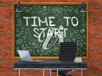Time to Start - Hand Drawn on Green Chalkboard in Modern Office Workplace. Illustration with Doodle Design Elements. 3D.