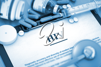 HIV - Printed Diagnosis with Blurred Text. HIV, Medical Concept with Pills, Injections and Syringe. 3D.