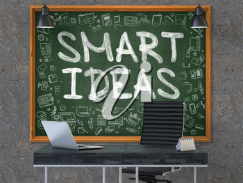 Smart Ideas Concept Handwritten on Green Chalkboard with Doodle Icons. Office Interior with Modern Workplace. Dark Old Concrete Wall Background. 3D.