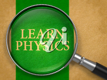 Learn Physics through Loupe on Old Paper with Green Vertical Line Background. 3D Render.