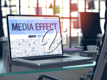 Media Effect Concept - Closeup on Landing Page of Laptop Screen in Modern Office Workplace. Toned Image with Selective Focus. 3D Render.