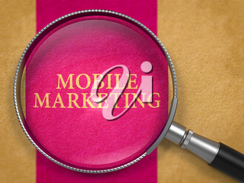 Mobile Marketing through Magnifying Glass on Old Paper with Lilac Vertical Line Background. 3D Render.