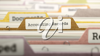 Accounting Records Concept. Colored Document Folders Sorted for Catalog. Closeup View. Selective Focus. 3D Render.