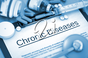 Chronic Diseases on Background of Medicaments Composition - Pills, Injections and Syringe. Chronic Diseases - Printed Diagnosis with Blurred Text.  Toned Image. 3D Render.