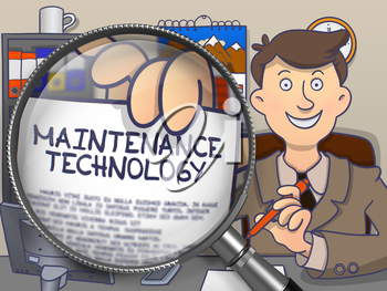 Maintenance Technology. Businessman Shows Paper with Inscription through Magnifying Glass. Multicolor Modern Line Illustration in Doodle Style.