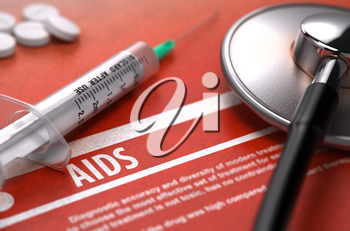 AIDS - Acquired Immune Deficiency Syndrome - Medical Concept with Blurred Text, Stethoscope, Pills and Syringe on Orange Background. Selective Focus. 3D Render.
