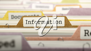 Information on Business Folder in Multicolor Card Index. Closeup View. Blurred Image. 3D Render.